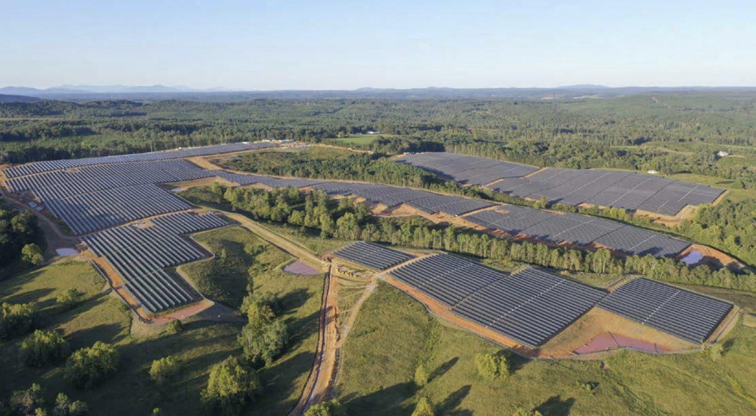 An overhead view of fields of solar panels located in the Altavista solar project in Virgina.