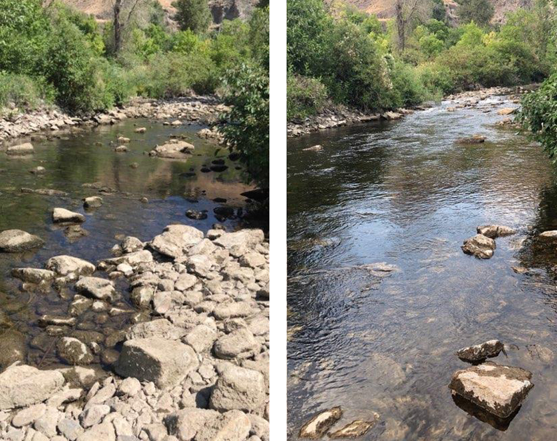 Provo River before and after flow restoration. Photo Credit: Photo Credit: Trout Unlimited